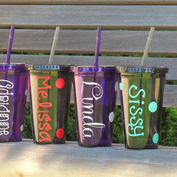 personalized tumler, acrylic cup, plastic cup, monogrammed cup, stocking stuffer, holiday gift, party tumbler, bridesmaid cup, holiday cup
