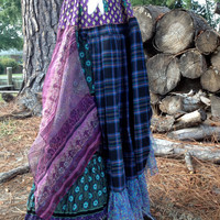 Maxi Skirt Bohemian Gypsy floral plaid upcycled lagenlook reconstructed