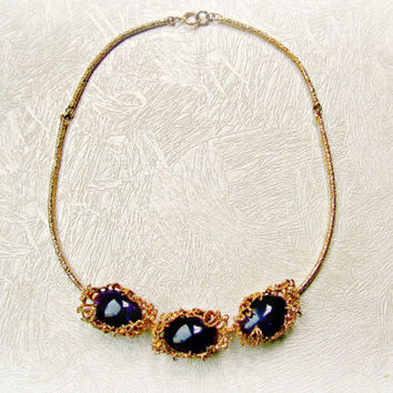 Brutalist Necklace Amethyst Cabochons in Gold Filled Setting Custom Creation Organic Hand Made Original