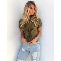 Casual Green Strap Short-Sleeved T-Shirt Women