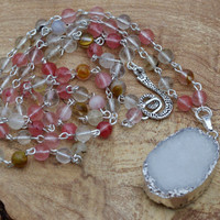 White and Volcano Rose Quartz Statement Necklace ~  Druzy Stone ~  Rope Necklace  ~ Pink Stones ~ White Quartz  Stone Pendant