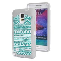 Note 4 Case, Galaxy Note 4 Case, SGM (TM) Dual Layer Protection High Impact Hybrid Armor Defender Case For Samsung Galaxy Note 4 (Gray + White (Tribal))