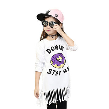 Donut Stop Me Girl's T-Shirt with Fringe