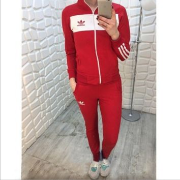 Adidas fall new sports and leisure suits Red
