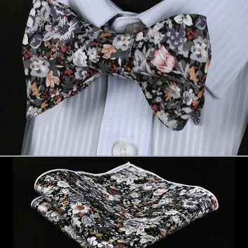 BMF201A Gray Pink Orange Floral 100%Cotton Jacquard Men Self Bow Tie BowTie Pocket Square Handkerchief Hanky Suit Set