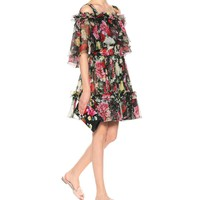 Floral-printed silk chiffon dress