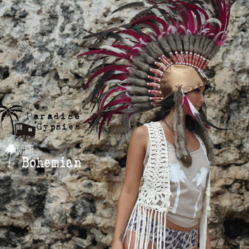 Mohawk Shell Gold Metallic Leather Natural & Burgundy Feather Headdress by Paradise Gypsies