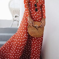 Sunday In San Fran Red White Polka Dot Pattern Long Sleeve Cross Wrap V Neck Wrap Slit Casual Maxi Dress