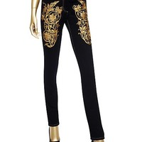 Versace - Baroque Gold Embroidered Jeans