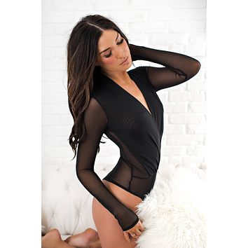 Woman With Attitude Mesh Bodysuit (Black)