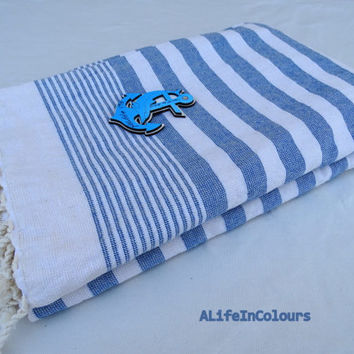 Blue and white colour striped Turkish cotton peshtemal and terry mixed bath towel, beach towel, travel towel, swimming towel.