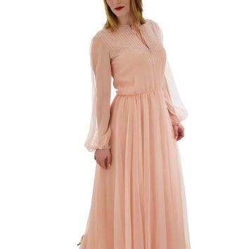 70s Beaded Blush Pink Chiffon Gown