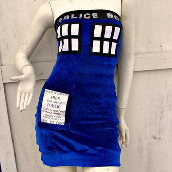 POLICE BOX blue velvet bodycon pocket mini dress Cosplay TARDIS inspired Doctor Costume Who