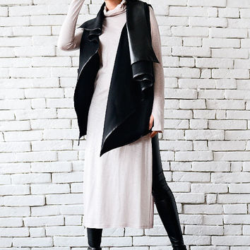 Black Leather Asymmetrical Vest/Sleeveless Black Coat/Loose Warm Top/Leather Tunic/Extravagant Black Vest/Plus Size Coat/Black Tunic Top