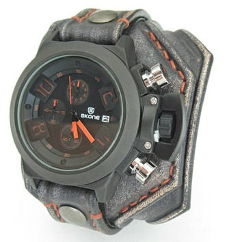 Genuine Smooth Leather Watch , Black Distressed Watch