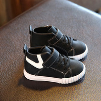 New 2017 fashion baby shoes leather Cool solid color high quality baby boots casual boys girls sneakers