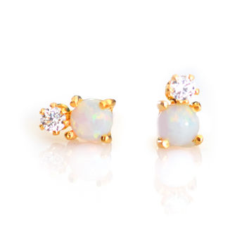 Opal and Diamond Dublet Studs