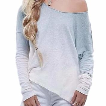Women's Beautiful Blue/Cream Ombre Tie Dye Gradient Off the Shoulder Scoop Neck Long Sleeve Fall Blouse