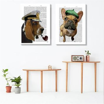 Modern Minimalist Newspaper Dog Poster Nordic Animals Wall Art Print Canvas Painting Wall pictures for Living Room Home Decor