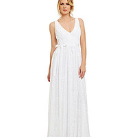 Vera Wang Lace Pleated Gown - White