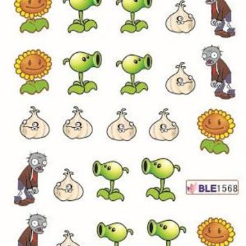 Plants vs. Zombies Nail Sticker Water Transfer Nail Sticker Decals Tattoo Effect Plants V.S. Zombies Water Decal Nail Art