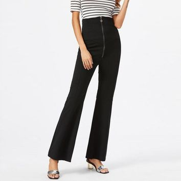 New Fashion 2017 Women  Fitted Long Bell Bottom Pantalones Solid Skinny High Waist Casual OL Party Zip Flared Pants Trousers