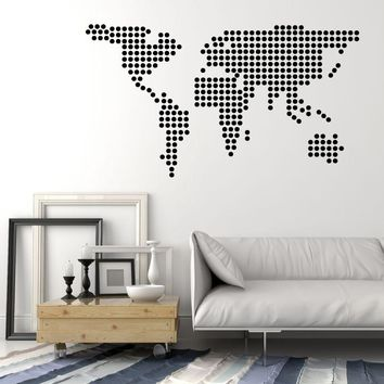 Vinyl Wall Decal Circles Balls Bubbles World Map Earth Stickers Unique Gift (1758ig)
