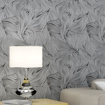 Abstract Curve Pattern Modern Design Wallpaper Roll / 3d Creative Curve Wall paper Background  Bedroom Living Room Wall Decor