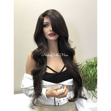 Brown Human Hair Blend Deep Parting Lace Front Wig - Hope 11174