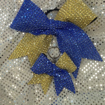 Royal Blue & Gold Rhinestone Cheer/Dance Bow Ribbon with Matching Keychain (Customizable)