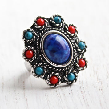 Vintage Faux Turquoise & Coral Ring -  Retro Signed Sarah Coventry 1970s Silver Tone Adjustable Statement Costume Jewelry / Navajo Style