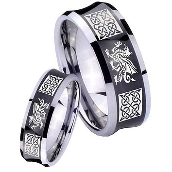 His Her Black Concave Multiple Dragon Celtic Two Tone Tungsten Wedding Rings Set