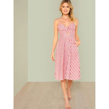 Red V-Neck Sleeveless Striped Knee Length Dress