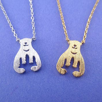 Polar Bear Aurora Northern Lights Silhouette Shaped Pendant Necklace in Silver or Gold