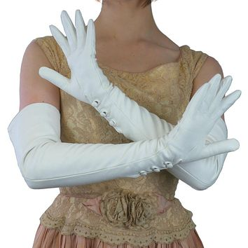 Long White Leather Gloves with 3 Buttons at the wrist, silk lining 16-bt.    (NSP)