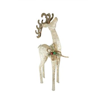 """46"""" Lighted Sparkling White Sisal Reindeer Christmas Outdoor Decoration"""