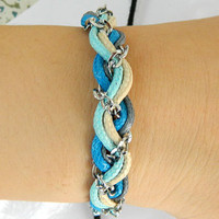 Braided Bracelet  Nautical Gold Chain Bracelet with Gold Anchor - Boardwalk Bracelet