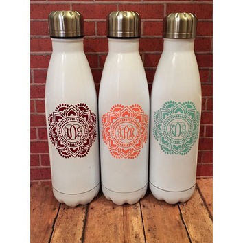 Personalized Water Bottle | Vacuum Sealed Bottle | Mandala Monogram | Powder Coated Bottle | Monogrammed Bottle