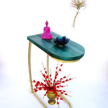 BOHO Style Cantilever Side Table // Gold Metal Base w/ Turquoise- Emerald Green Reclaimed Wood Top