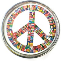 Multi Color Peace Sign 18MM - 20MM Fashion Snap Jewelry Charm