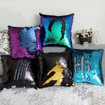 Mermaid Sequin pillow magical color changing reversible sequin throw pillow Home Decor Cushion  Decorative Pillowcase