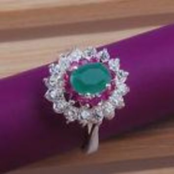 Ladies Cocktail Ring -Emerald circled in Rubies