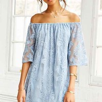 Honey Punch Embroidered Mesh Off-The-Shoulder Dress-