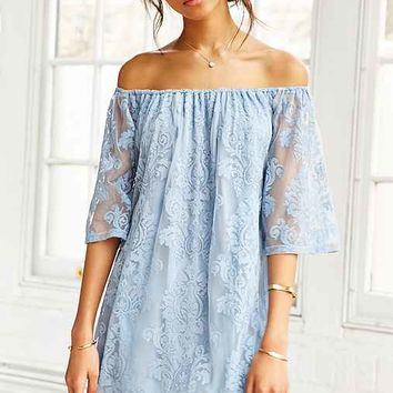 Honey Punch Embroidered Mesh Off-The-Shoulder