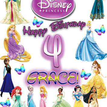 Personalized Custom Birthday T-shirt Disney Princess #2