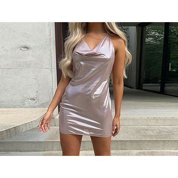 New Sexy Neck-hung, Backless Champagne Dresses High Stretch Night Shop Dresses