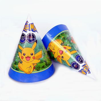 6pcs/lot paper hat Pokemon Go Pikachu Birthday event party supplies party Decoration Set