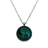 Teal Blue and Black Tree of Life Yin Yang Round Necklace - Round Custom Necklaces
