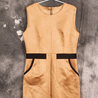 Yellow Sleeveless Zipper Back A-Line Dress With Pocket