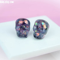 Kawaii Fairy Kei Pastel Goth Tiny Heart Filled Skull Resin Stud Post Earrings in Translucent Grape